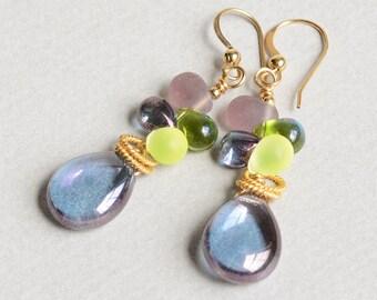 Royalty Earrings - Green and Purple Earrings - Purple and Gold Earrings - 14K Gold-Filled