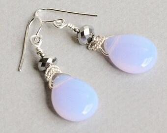 Pale Opal Earrings - Glowing Earrings - Opal Glass Earrings - Opalescent Earrings - Sterling Silver