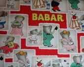 Babar Storybook Fabric Red Babar Fabric Stamps in Red by Camelot Cotton 35500101-1 quilt cotton fabric Yardage By the Yard
