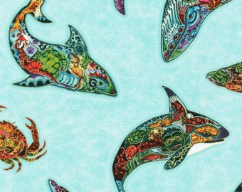 Animal Spirits in Water with Metallic from the Animal Spirits 2 collection by Robert Kaufman by the fat quarter or half yard