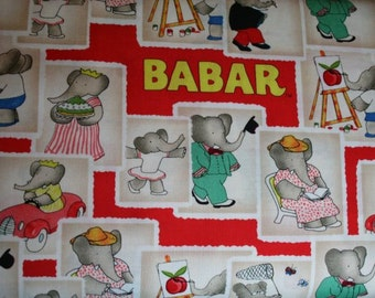 Babar Storybook Fabric Red Babar Fabric Stamps in Red by Camelot Cotton 35500101-1 quilt cotton fabric Sold by the 1/2 Yard