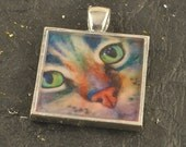 Green Eyed Cat Pendant CAT Painting One Inch Square Feline TABBY