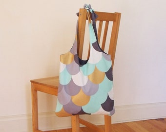 Tote bag with scales print in gold, aqua, greys & white - heavy cotton, lined, ready to ship