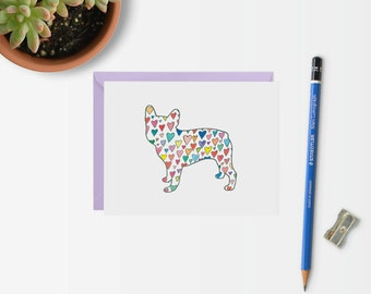 French Bulldog Greeting Card Set - Note Card Set - Frenchie Stationery - French Bulldog Silhouette with Hearts Card - French Bulldog Art