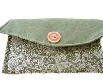 Green Damask Money Wallet , Small Purse Wallet , Money Purse , Card Purse , Ladies Card Wallet , Women Small Wallet , Coin or Change Purse