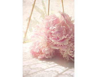 Peony Still Life Photography, Peony Wall Art, French Country Decor, Cottage Chic Decor, Bedroom Art,  Floral Art Print, Pastel Flower Photo
