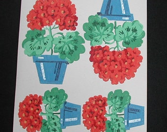 Vintage Red Geraniums in Blue PotsTrimz Kut-Outs Cut Outs Decals Transfers