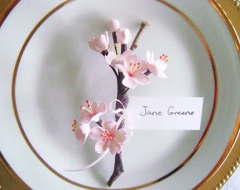 Cherry Blossoms Wedding Favor Place Card Holder Escort Cards Hot Pink Blossoms Wedding Favours Made to Order