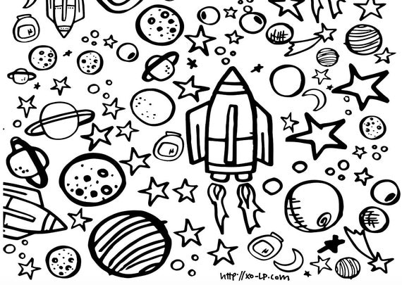 Printable Outer Space Coloring Page By Xolp On Etsy