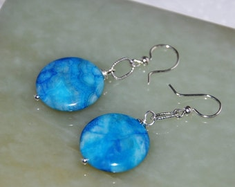 Blue Earrings, Blue Crazy Lace Agate Earrings, Silver Earrings, Blue Gemstone Earings, Sterling Silver