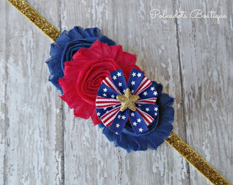July 4th Headband Red White and Blue Baby Headband Patriotic Headband 4th of July Headband Stars and Stripes Headband Patriotic Baby Bow