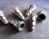 Solid Sterling Silver Cone Ends - Bead Caps - oxidized - Intricate - High End Quality