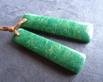 African Green Jade Earring Pair - semiprecious stone beads - drilled rectangles