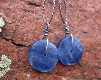 Kyanite Earrings long - Sterling Silver - chain