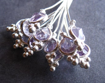 Faceted Amethyst Set headpins in solid sterling silver - 3 1/4 inches long