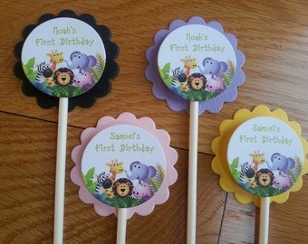 Personalized Jungle Cupcake Toppers