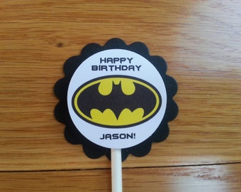 Personalized Batman Cupcake Toppers