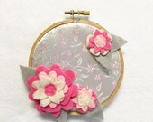 Fabric Wall Art, Embroidery Hoop Art, Regal, Nursery Decoration, Floral Wall Decor, Hoop Wall Hanging, Felt Flower Hoop