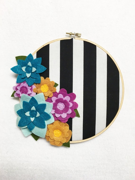 Flower Wall Art, Embroidery Hoop Art, Bold Stripes, Nursery Decoration, Floral Wall Decor, Hoop Wall Hanging, Felt Flower Hoop