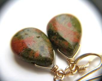 Green Stone Earrings . Green Teardrop Earrings . Unakite Earrings . Natural Stone Earrings . Green and Gold Earrings - Tocantins Collection