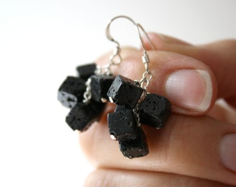 Lava Rock Earrings . Black Cube Earrings . Geology Gifts . Volcanic Rock Earrings . Lava Rock Jewelry - Boji Collection NEW