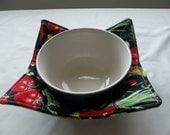 Microwave Bowl Cozy Quilted or Hot Pad Mixed Vegetables #3 All Cotton Fabric and Thread