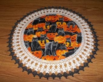 Halloween Doily, Crocheted, Black Cat Doily, Pumpkin Fabric Doily, Best Doilies, Table Topper, Crocheted Edging, Handmade, Centerpiece