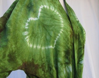 Tie Dye Robe Green with Lavender Hearts
