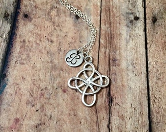 Celtic cross initial necklace - Celtic charm necklace, Celtic cross jewelry, silver Celtic cross necklace, Gaelic necklace, Irish necklace