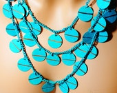 Three Strand Blue Disc Necklace, Multi Strand Vintage Necklace