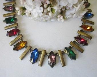 Vintage Deco Rhinestone Necklace multicolor
