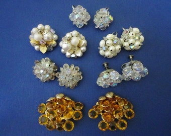 DeStash 6 pairs Bead Clip Earrings