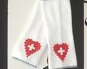 Nurse Red Heart Cross White Fleece Arm Warmers MTCoffinz --CLOSEOUT SALE