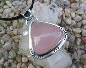 Triangle Rose Quartz Pendant, Pink Gemstone, Heart Shaped Cut Outs, Sterling Silver, Natural Jewelry, Love Stone, Silvermith