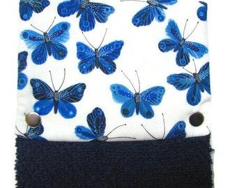 Towel, Hanging towel, Hand towel, Kitchen towel, bathroom towel, oven, snap on towel, guest towel, camper, 100% cotton, Blue butterflies