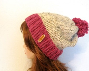 Slouchy Knit Hat with Pom Pom / VAIL / Oatmeal and Raspberry