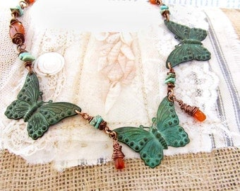 Butterfly necklace - orange turquoise green - patina boho jewelry