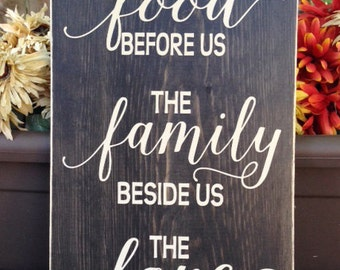 Bless the food before, kitchen sign, dining room sign, the family beside us, and the love between us -  Wall Sign - Wall Art - Style HM121