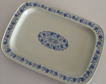 Metal Trays Set of SIX Blue and White Trinket Trays Serving Home Decor
