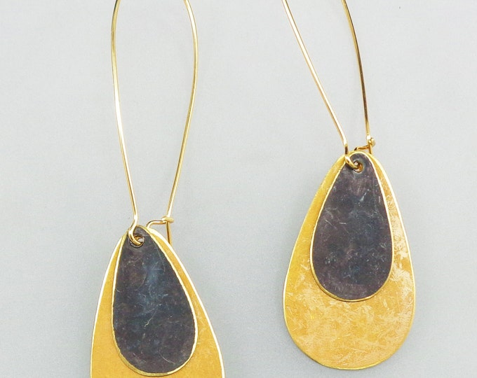 Brass Patina Teardrop Earrings in Yellow and Black