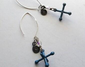 Upcycled Earrings, Jacks Earrings, Vintage Earrings, Industrial Chic Jewelry