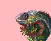Watercolor and pen and ink print of colorful chameleon 8x10