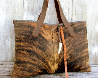 Brindle Cowhide Tote Bag by Stacy Leigh