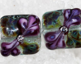 Handmade pair of butterfly wing floral nugget beads by joycelo