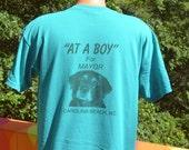 vintage 90s t-shirt DOG for MAYOR at a boy fat pelican beer carolina beach tee shirt Large wtf