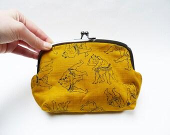 Cosmetic bag, Japanese sumo wrestlers design, mustard yellow purse