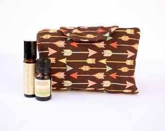 Arrow on brown fabric Essential oil case holds 8 vials or rollerballs arrow bag