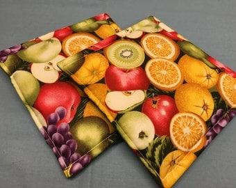 Fruit Harvest Print Potholders set of 2