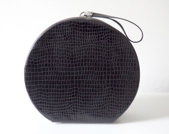Black Croc 60s Round Zippered Hat Box