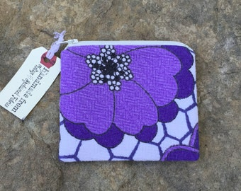 violet bloom change purse, vintage floral